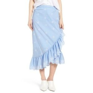 NEW Chelsea28 Women Blue Ruffle Midi Skirt Size XS